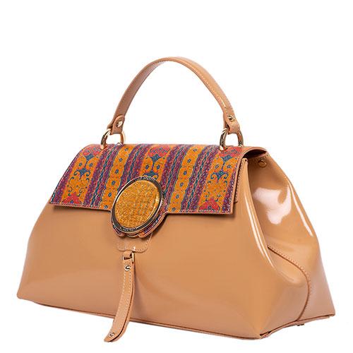 Лаковая сумка Gilda Tonelli с орнаментом оранжевого цвета, фото