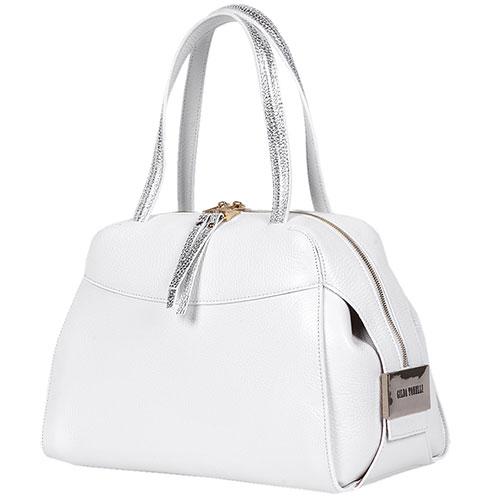 Белая сумка Gilda Tonelli с серебряными ручками, фото