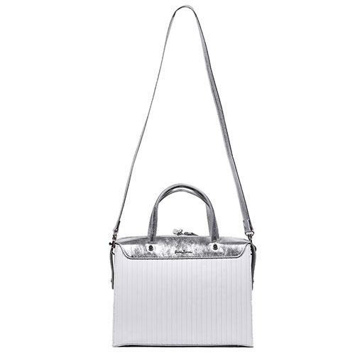 Стеганая сумка-портфель Gilda Tonelli белая с серебристым, фото