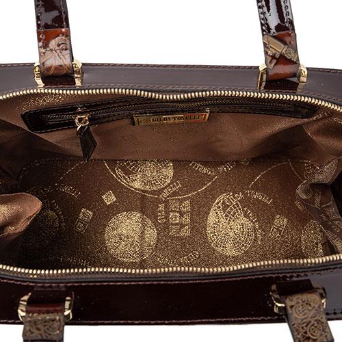 Коричневая сумка Gilda Tonelli с принтом-ключами, фото
