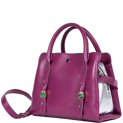 Малиновая сумка Gilda Tonelli с декором-камнями, фото