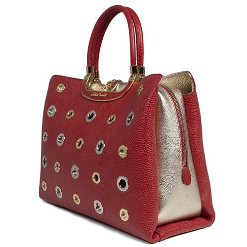 Сумка Gilda Tonelli красного цвета с серебристыми вставками, фото