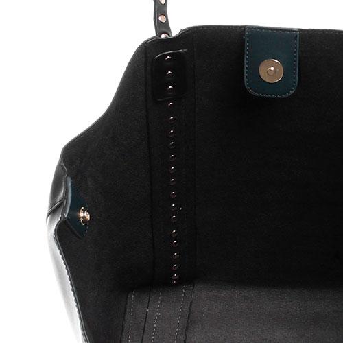 Сумка-шоппер из черной гладкой кожи Tosca Blu Funny Winter с яркими заклепками, фото