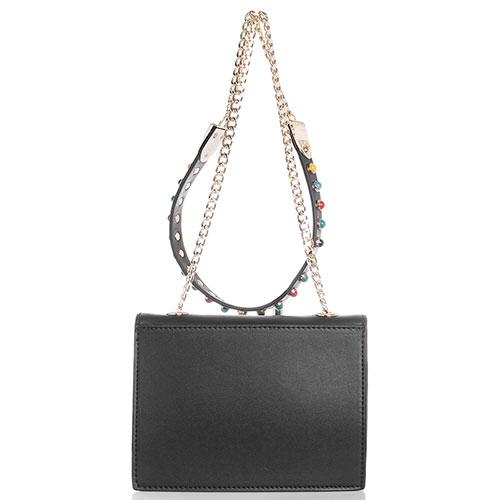 Маленькая сумка прямоугольной формы черного цвета Tosca Blu Funny Winter с ярким принтом, фото