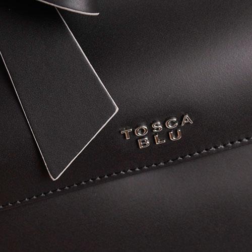 Сумка из матовой кожи черного цвета Tosca Blu Dandy с бантом, фото