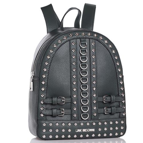 Рюкзак Love Moschino черного цвета с декором-заклепками, фото