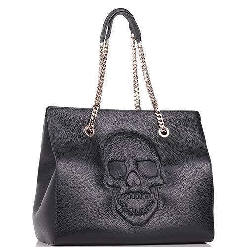 Черная сумка Philipp Plein с тиснением в форме черепа, фото