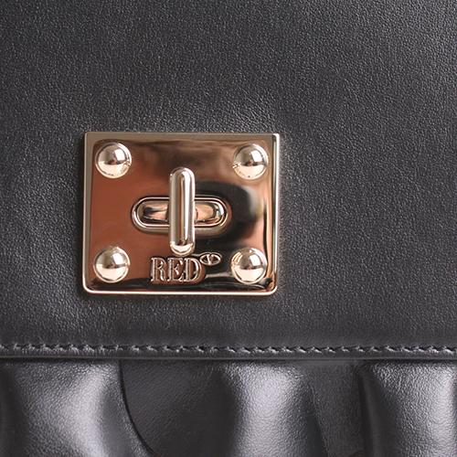 Черная сумка Red Valentino Rock с декором-рюшами, фото