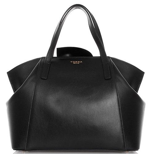 Черная кожаная сумка Tosca Blu декорированная бантом, фото