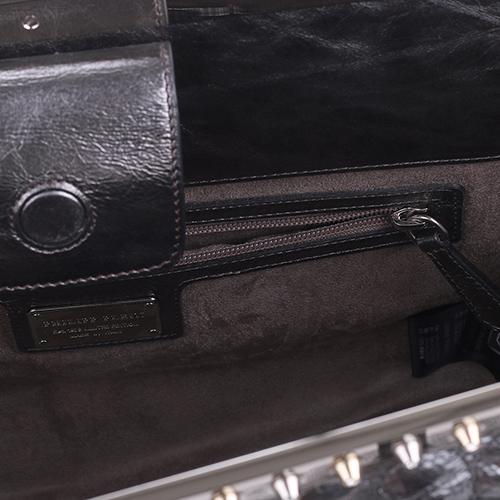 Серебристая сумка Philipp Plein Last flight из простеганой кожи, фото