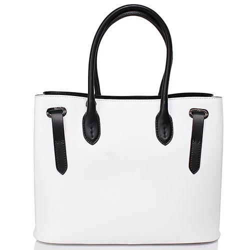 Белая сумка из гладкой кожи Polo Ralph Lauren с элементами черного цвета, фото