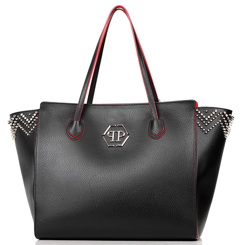 Сумка Philipp Plein черного цвета с декором-стразами, фото