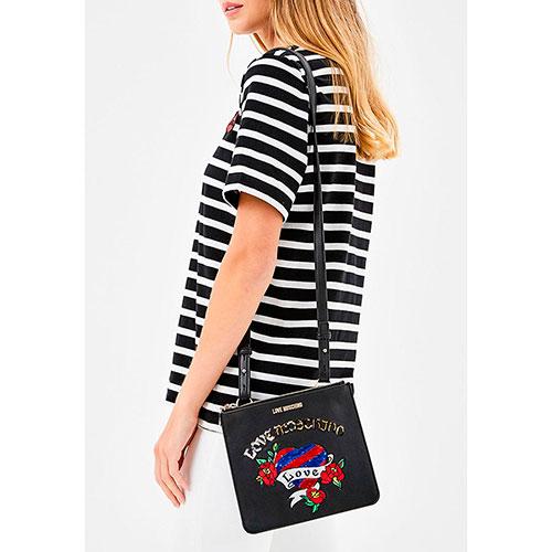 Маленькая сумка-планшет Love Moschino черного цвета с блестящим декором, фото