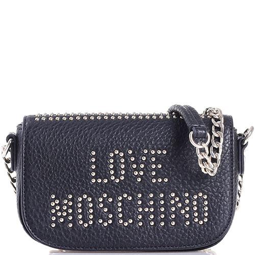 Маленькая сумка Love Moschino из крупнозернистой кожи с декором-заклепками, фото
