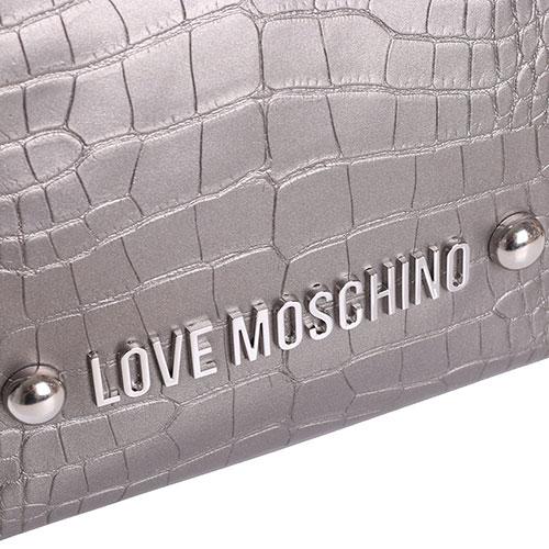 Сумка-шоппер Love Moschino серого цвета из кожи с тиснением кроко, фото