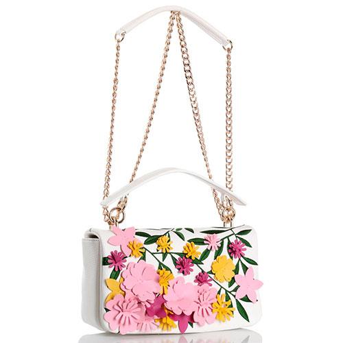 Белая маленькая сумка Tosca Blu Happy spring с флористическими аппликацией и вышивкой, фото