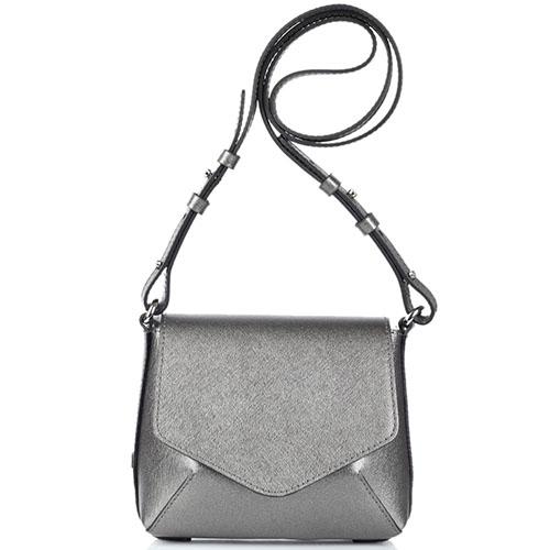 Маленькая сумочка Gianni Chiarini серебристого цвета из кожи с тиснением Сафьяно, фото
