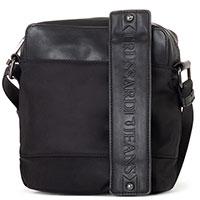 Мужская сумка-мессенджер Trussardi Jeans черного цвета, фото