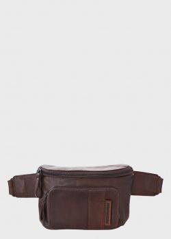 Коричневая поясная сумка Spikes&Sparrow с карманом на молнии, фото