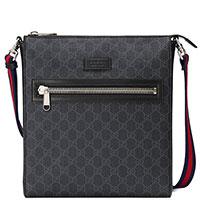 Мужская сумка Gucci Supreme в сером цвете с принтом, фото