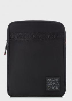 Черная сумка Mandarina Duck Warrior с брендовой нашивкой, фото
