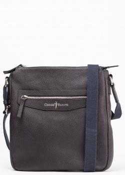 Темно-синяя сумка из кожи Cesare Paciotti на текстильном ремешке, фото
