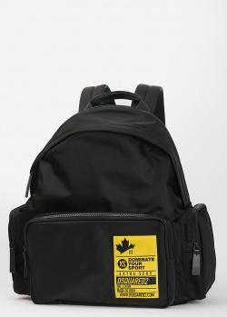 Черный рюкзак Dsquared2 с брендовой нашивкой, фото