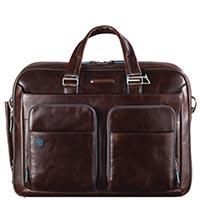 Двуручная кожаная сумка Piquadro Blue Square коричневого цвета, фото