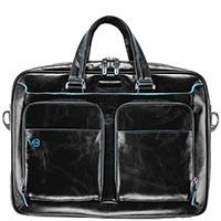 Двуручный портфель Piquadro Blue Square из черной кожи с отделом для ноутбука, фото