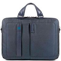 Синий портфель Piquadro Pulse с секцией для ноутбука, фото