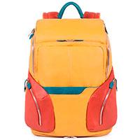 Желтый рюкзак Piquadro Coleos с чехлом от дождя, фото