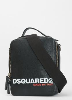 Сумка из кожи Dsquared2 с фирменным принтом, фото