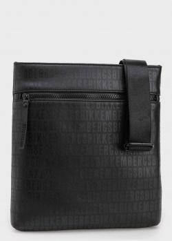 Черная сумка Bikkembergs с надписями-логотипами в тон, фото
