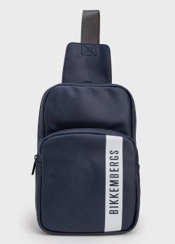 Синий монорюкзак Bikkembergs с брендовым принтом, фото