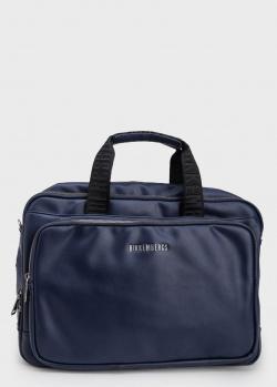 Синяя сумка-рюкзак Bikkembergs с текстильными вставками, фото