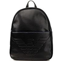 Черный рюкзак Emporio Armani с брендовым тиснением, фото