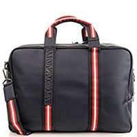Синяя сумка Emporio Armani с текстильными вставками, фото