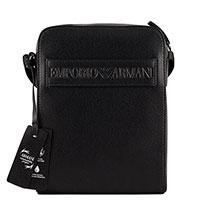 Мужская сумка Emporio Armani черного цвета с тиснением, фото