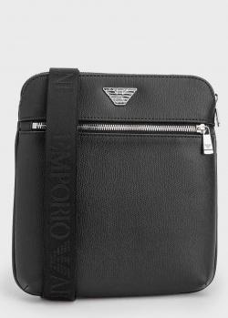 Черная сумка-планшет Emporio Armani с логотипом, фото