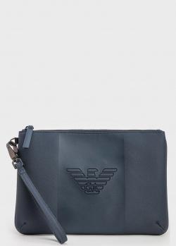 Синий клатч Emporio Armani с логотипом, фото