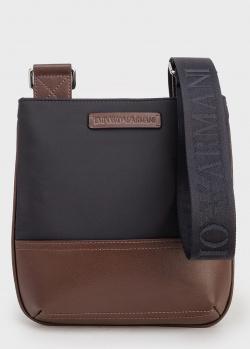 Текстильная черная сумка Emporio Armani со вставками из коричневой экокожи, фото