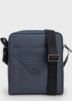 Синяя сумка Emporio Armani с тиснением в виде орла, фото