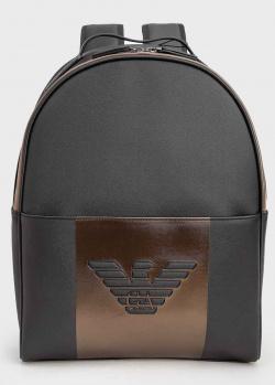 Черный рюкзак Emporio Armani с бронзовой вставкой, фото