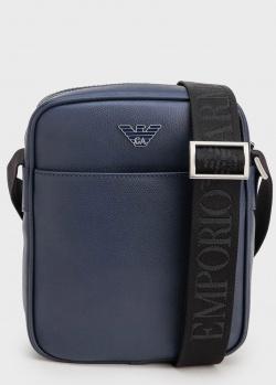 Синяя сумка Emporio Armani с маленьким лого, фото