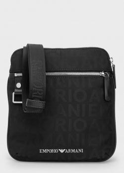Сумка через плечо Emporio Armani с жаккардовыми надписями, фото