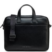 Черный портфель Emporio Armani из зернистой кожи, фото