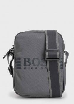 Серая сумка Hugo Boss с фирменной надписью, фото