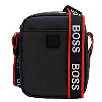 Мужская сумка Hugo Boss в черном цвете с контрастным ремнем, фото