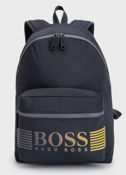 Темно-синий рюкзак Hugo Boss с фирменной надписью, фото