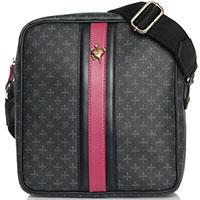 Черная мужская сумка John Richmond с малиновой вставкой, фото